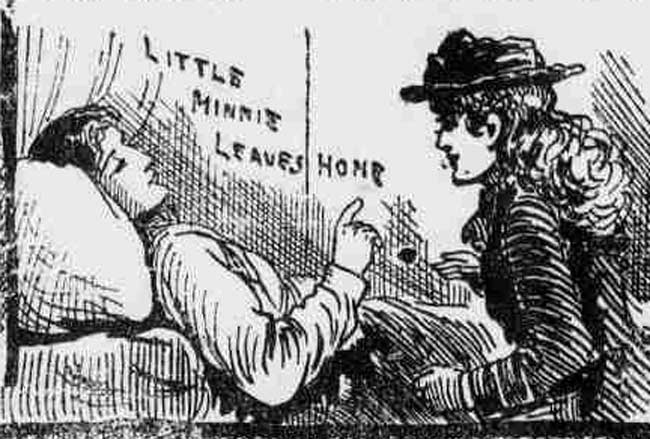 An illustration showing Amelia Jeffs leaving home.