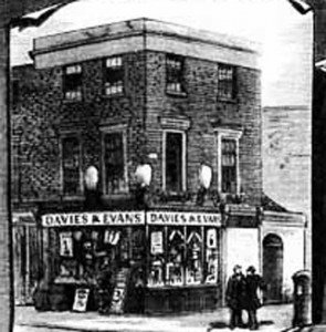 An illustration showing the exterior of Davies and Evans shop.