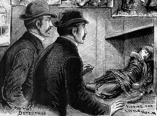 The two detectives looking at the body of Amelia Jeffs in the cupboard.