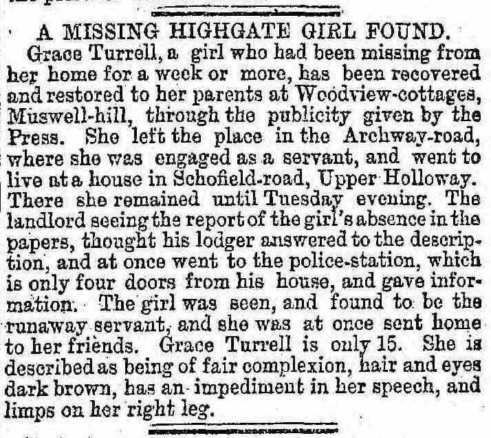 The report on missing Highgate girl Grace Turrell.