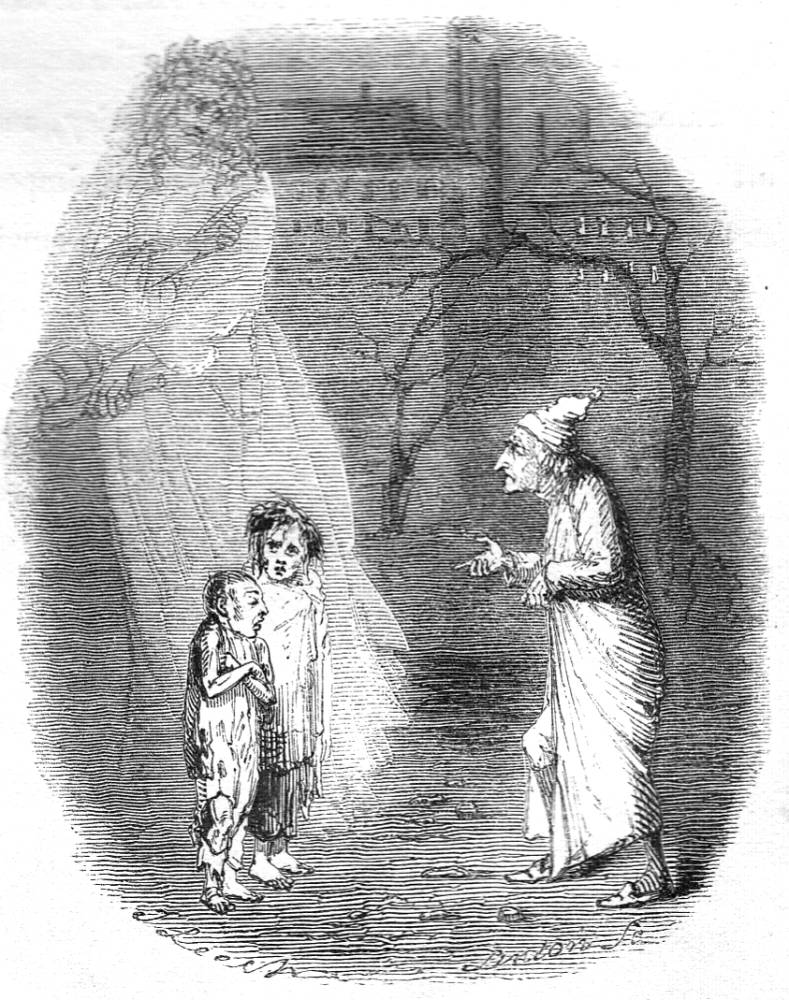 The Gost of Christmas Present shows Scrooge the two children Ignorance and Want.