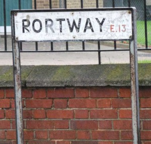 The street sign for Portway.