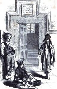 Children outside the foor of the Field Lane Raged School.