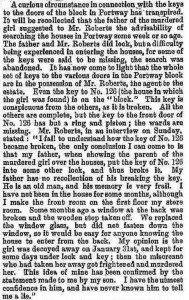 An article in the Illustrated Police News speaking about the missing keys to 126 Portway.