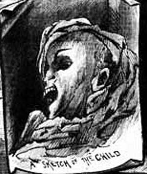 An illustration showing the head of the girl found in the box.