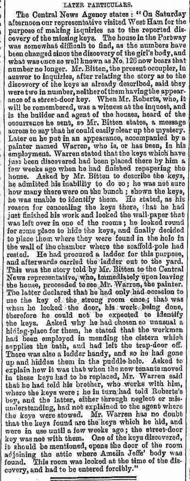 The report on the finding of the Keys .