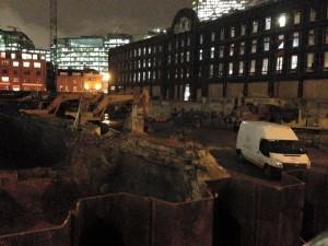The demolished Dorset Street in the dark.