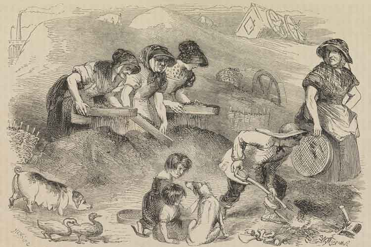 Men, women and children work on a Dust Mound.