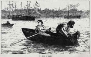 Gaffer an Lizzie in a boat of the Thames. Lizzie is rowing and Gaffer is looking into the River.