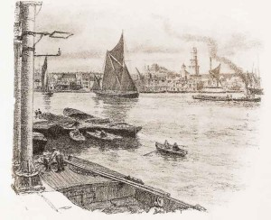 Ships and boats on the River Thames at Limehouse Reach.