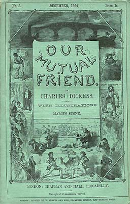 An image of the blue front cover of one of the instalments of Charles Dickens Our Mutual Friend.