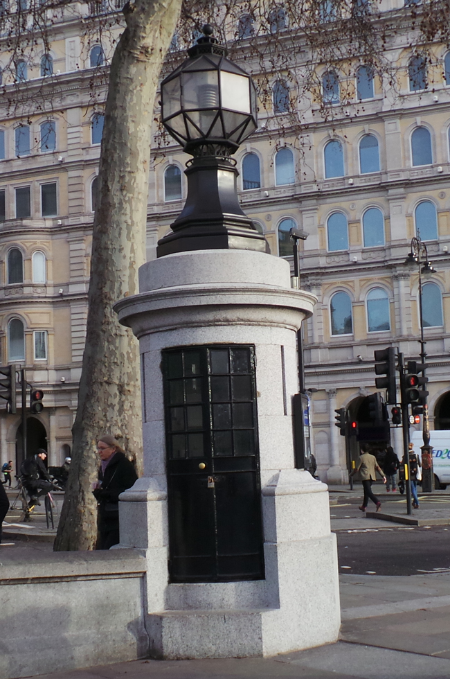 The old police box in Trafalgar Square.