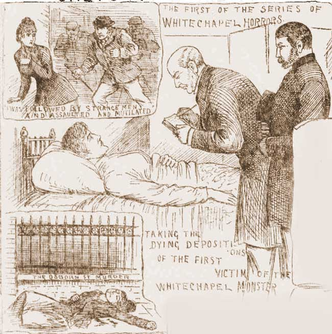 Illustrations showing the attack on and the death of Emma Smith.