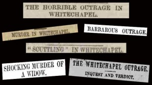 Various newspaper headlines reporting the horror of the murder of Emma Smith.