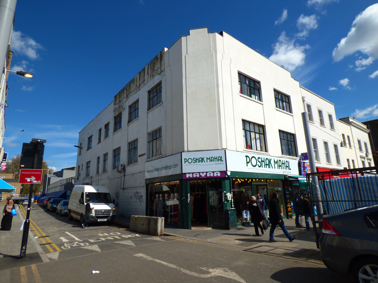 A view of the site of the waxworks.