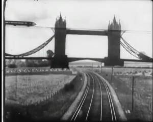 Monorials running over and under Tower Bridge.