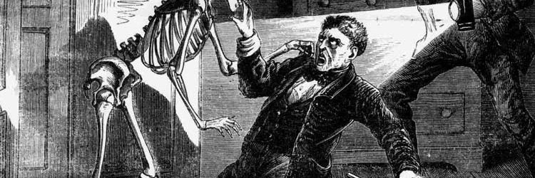 An illustration of the burglar being bitten by the skeleton.