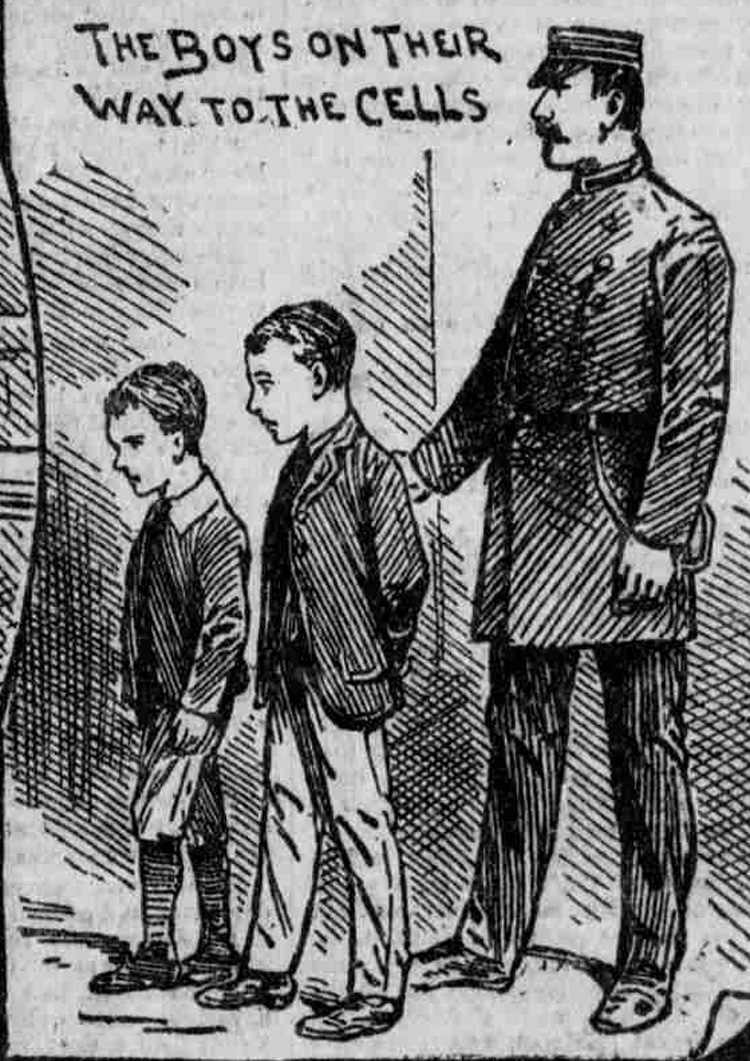 A Jailer leads the Coombes brothers to the cells.