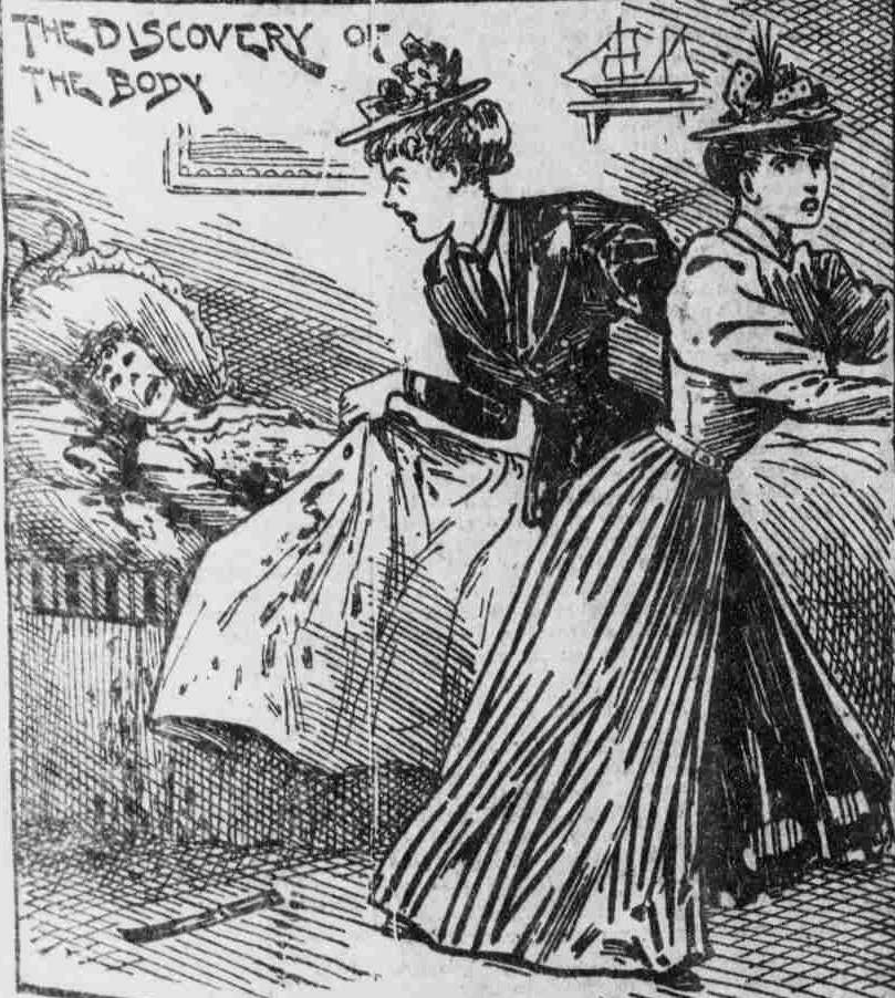 Emily Coombes Finds Her Sister-In-Law's body. From The Illustrated Police News, July 27th 1895. Copyright, The British Library Board.