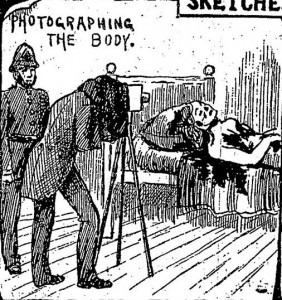 A photographer taking a photograph of Mary Kelly's body lying on her bed.