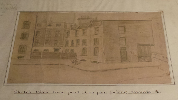A sketch of Mitre Square and the buildings at the scene of Catherine Eddowes murder.
