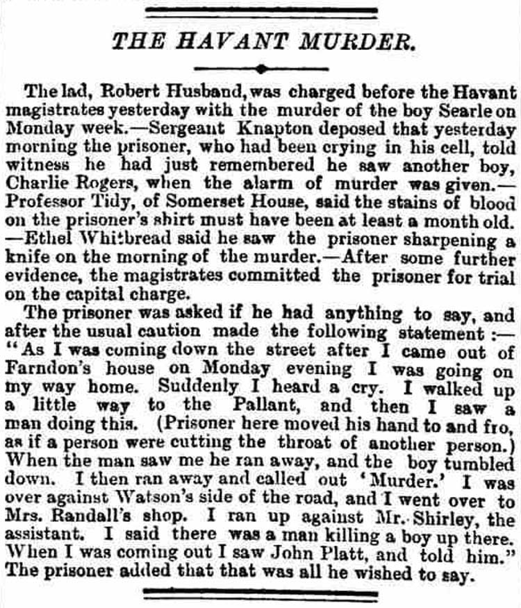 The account in the Morning Post of Robert Husband's appearance before the magistrate.