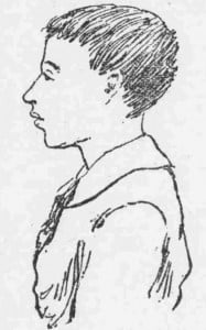 A press sketch depicting Nathaniel Coombes.