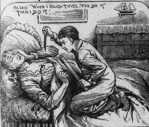 A press illustration showing Robert Coombes stabbing his mother with a large knife.