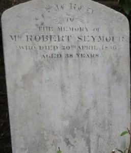 A photo of Robert Seymour's gravestone.