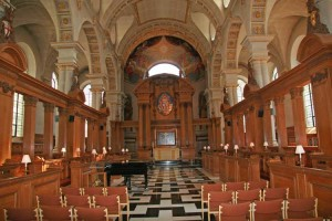 The interior of St Bride's church looking towards the altar.