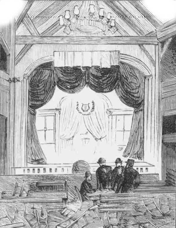 A view of the theatre interior after the tragedy.