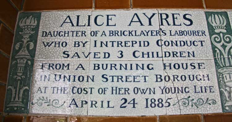 The plaque to Alice Ayres.