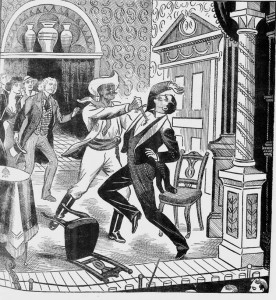 William Franks plunges the dagger into the chest of Temple Crozier.