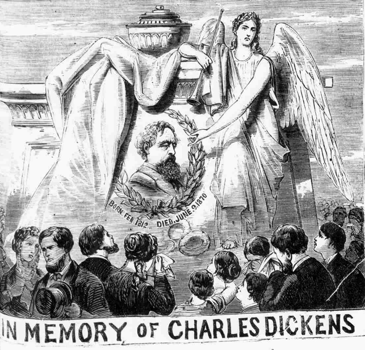 A memorial illustration showing Charles Dickens funeral.