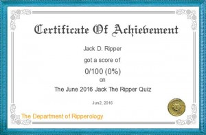 An image of the Jack the Ripper quiz certificate.