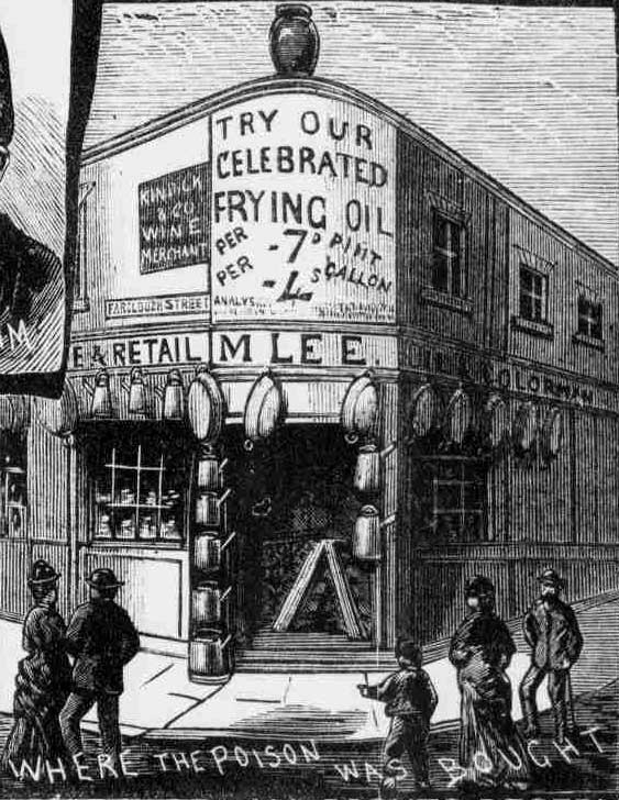 An illustration depicting the shop where the acid was sold to Israel Lipski.