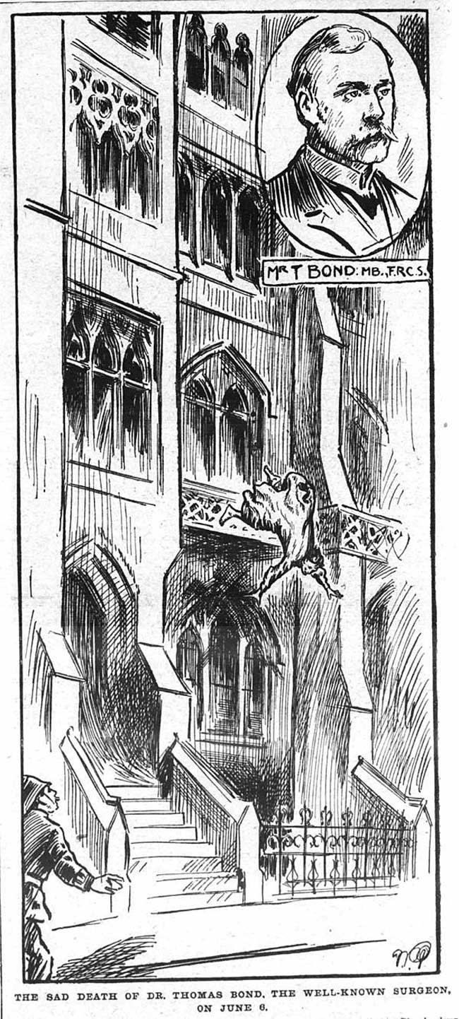 An illustration showing Dr Thomas Bond's fall from his window.