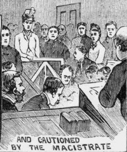A sketch of Miss Cass appearing before Mr Newton.