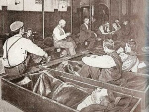 Men sleep in Coffin Beds.