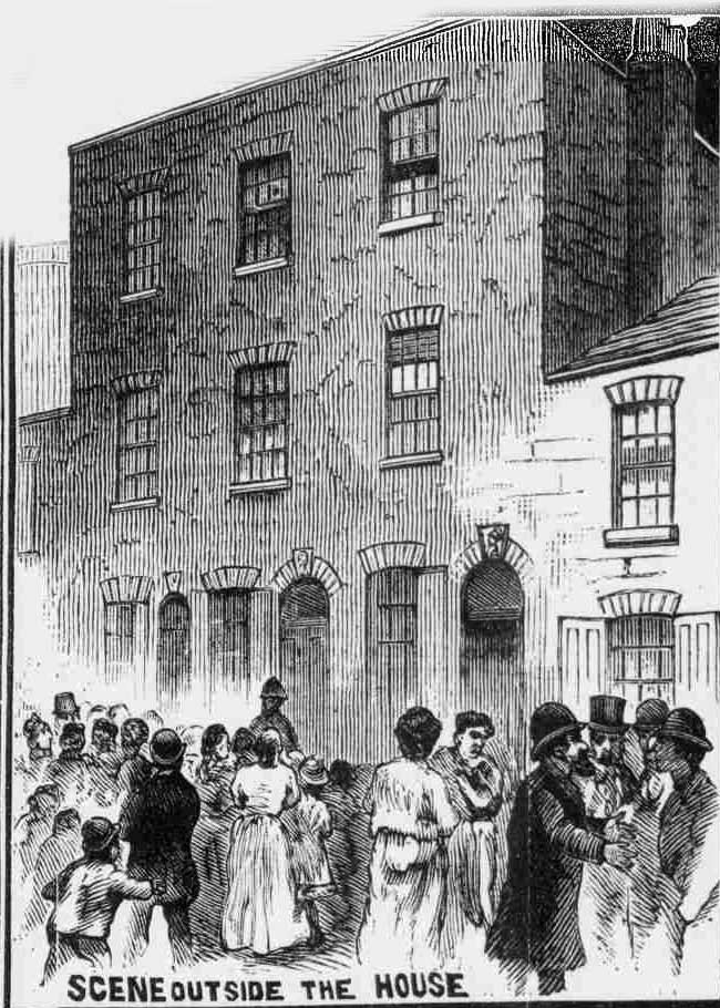 An excited crowd gathers outside 16 Batty Street.