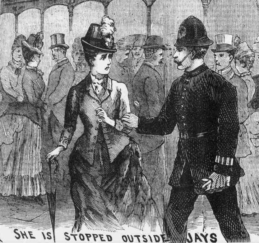 An illustration showing PC Endacott arresting Miss Cass.