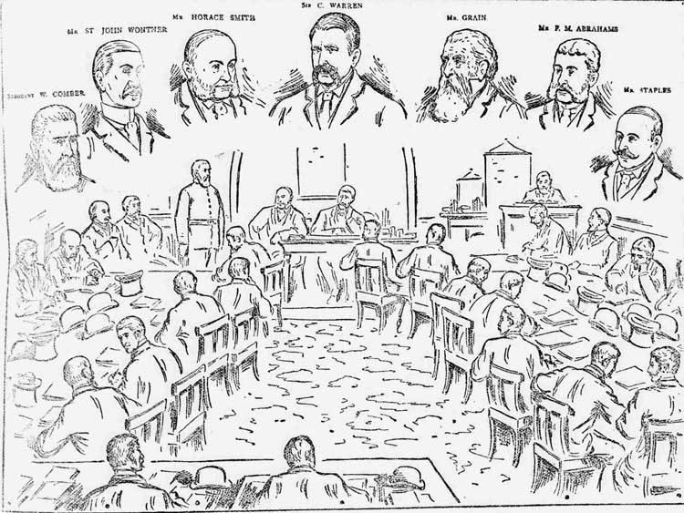 An illustration showing the hearing into the Cass case.