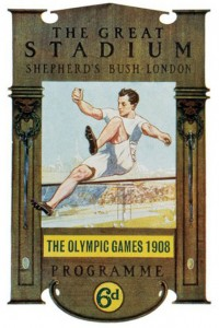 An image of an athlete competing in the 1908 London Olympics.
