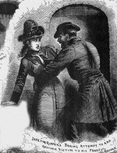 An illustration showing the ripper trying to lure his victim into the court.