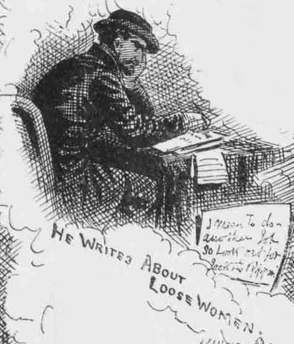 The suspect shown writing at a table.