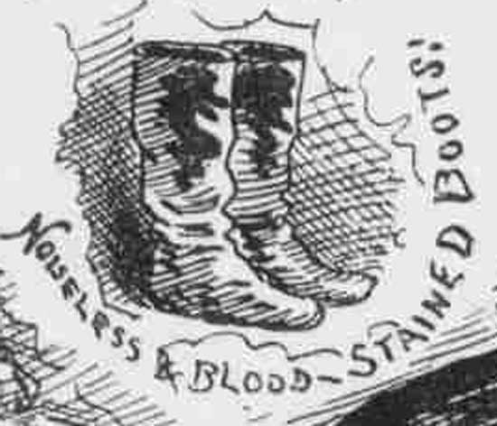 An illustration of Jack the Ripper's boots.