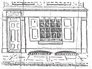 A sketch showing the exterior of 29 Hanbury Street.