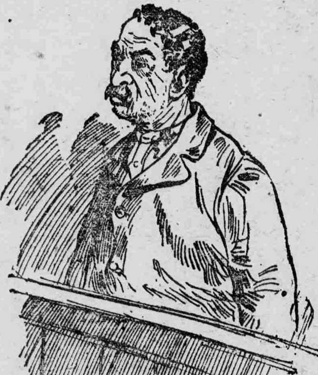 A sktch showing Barnet Abrahams in the dock.