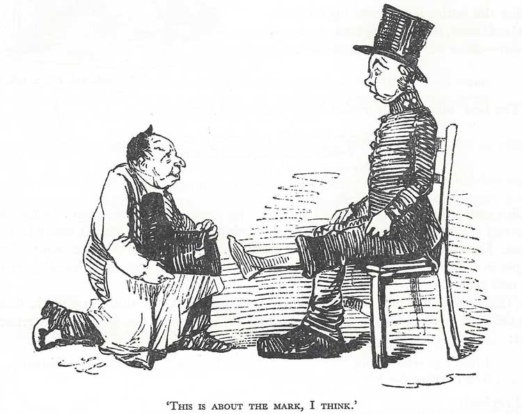 A skecth showing a policeman being fitted with an oversized boot.
