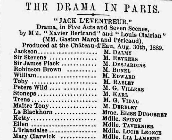 The list of the cast for the drama.